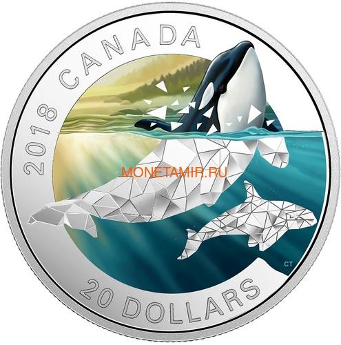 Канада 20 долларов 2018 Кит Косатка Геометрическая Фауна (Canada 20C$ 2018 Geometric Fauna Orcas).Арт.60 (фото)