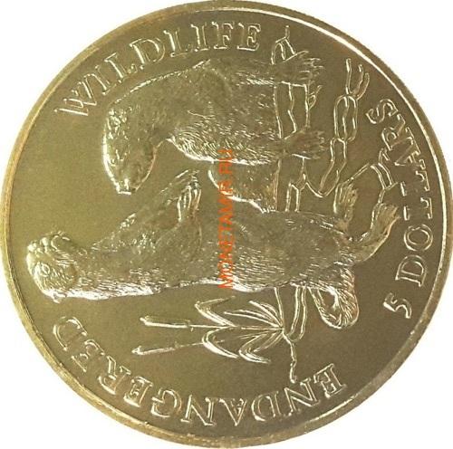 Острова Кука 5 долларов 1991 Выдры (Cook Isl. 5$ 1991 Otters Endangered Wildlife).Арт.000021615076/60 (фото)