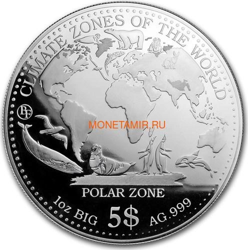 Самоа 5 долларов 2017 Полярный Климат серия Климатические Зоны Мира Пингвин Белый Медведь Заяц Морской Котик Кит Тюлень (Samoa 5$ 2017 Polar Zone Climate Zones of the World).Арт.60 (фото)