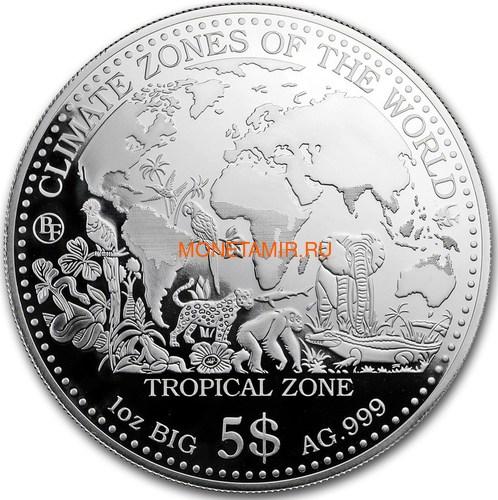 Самоа 5 долларов 2017 Тропический Климат серия Климатические Зоны Мира Лягушка Попугай Слон Крокодил Акула Леопард Обезьяна (Samoa 5$ 2017 Tropical Zone Climate Zones of the World).Арт.60 (фото)