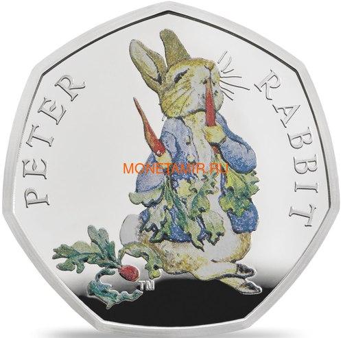 Великобритания 50 пенсов 2018 Кролик Питер Персонажи Беатрис Поттер (UK 50 pence 2018 Peter Rabbit Beatrix Potter Silver).Арт.60 (фото)