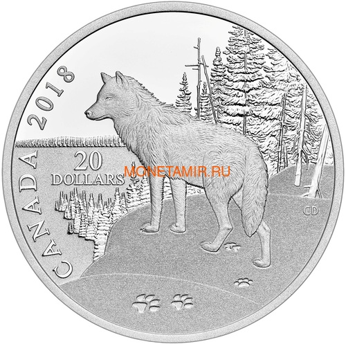 Канада 20 долларов 2018 Волк (Canada 20$ 2018 Paw Prints on the Edge Wolf).Арт.60 (фото)