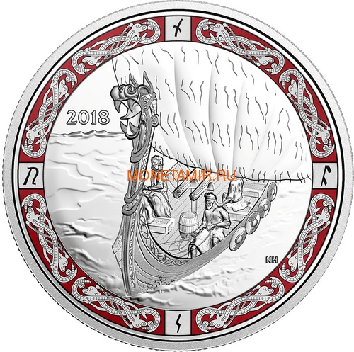 Канада 20 долларов 2018 Путешествие Викингов Корабли Викингов (Canada 20C$ 2018 Viking Ships Viking Voyage).Арт.60 (фото)