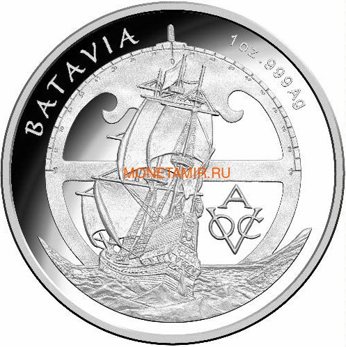 Австралия 5 долларов 2015 Корабль Батавия Голландской Ост-Индской Компании - Драма в Открытом Море (Australia 5$ 2015 Drama on the High Seas The Story of VOC Batavia).Арт.60 (фото)