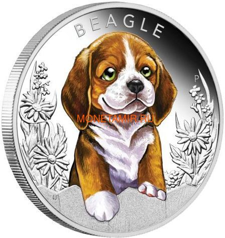 Тувалу 50 центов 2018 Бигль Щенки (Tuvalu 50 cents 2018 Puppies Beagle 1/2oz Silver).Арт.60 (фото)