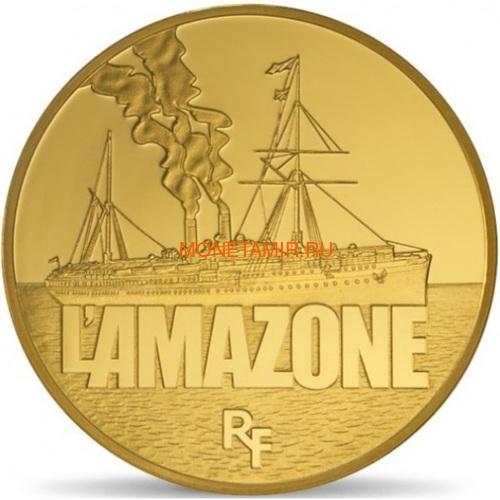 Франция 50 евро 2013 Корабль Амазонка серия Великие корабли Франции (France 50E 2013 Ship L`Amazone Gold).Арт.60 (фото)