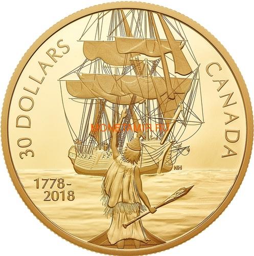 Канада 30 долларов 2018 Корабль Резолюшн (Canada 30$ 2018 HMS Resolution 2 oz Pure Silver Gold Plated).Арт.60