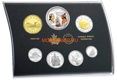 Канада 2018 набор монет Капитан Кук Залив Нутка Корабль Медведь Утка Олень Бобр (Canada 2018 Special Edition Silver Dollar Proof Set 240th Anniversary of Captain Cook at Nootka Sound).Арт.60 (фото)