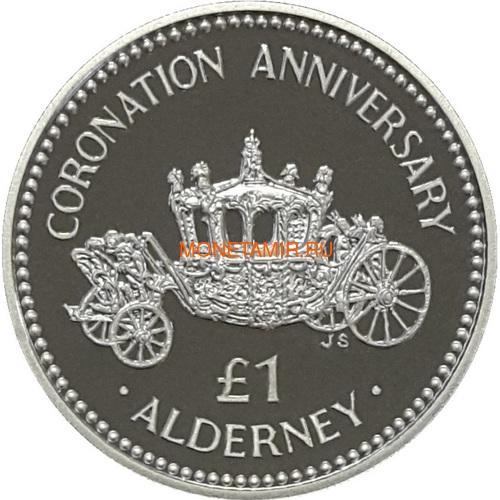 Олдерни 1 фунт 1993 Коронация Карета (Alderney 1 pound 1993 Coronation Silver Coin).Арт.60 (фото)