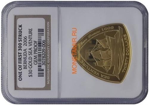 Бермуды 30 долларов 2006 Корабль Мария Целеста – Кораблекрушение Слаб NGC (Bermuda 30$ 2006 Sea Venture Triangular Gold Coin NGC Gem Proof).Арт.K2G/67 (фото)