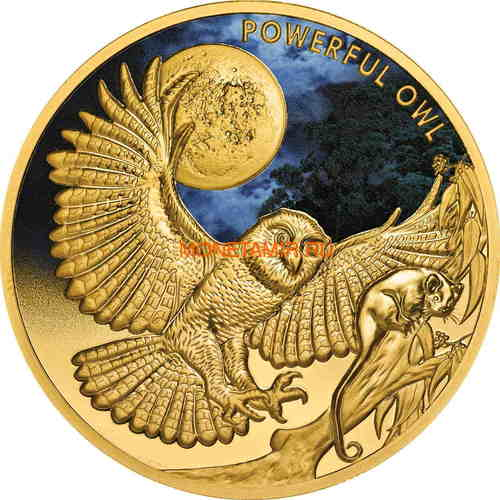 Ниуэ 100 долларов 2018 Сова (Niue 2018 100$ Endangered & Extinct Powerful Owl 1oz Pure Gold Proof).Арт.011624655579