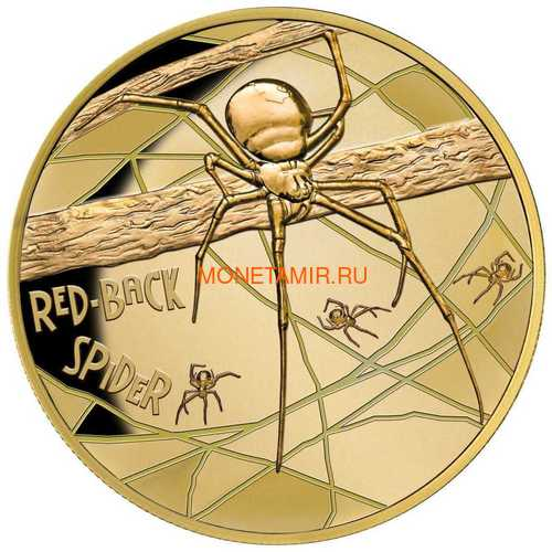 Ниуэ 100 долларов 2018 Паук Международная Версия (Niue 2018 $100 Deadly & Dangerous Red-Back Spider 1Oz Gold Proof Export Edition International Version).Арт.63