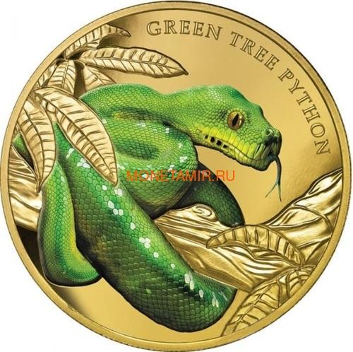 Ниуэ 100 долларов 2019 Зеленый Питон Замечательные Рептилии (Niue 100$ 2019 Remarkable Reptile Green Tree Python 1Oz Gold Proof).Арт.63 (фото)