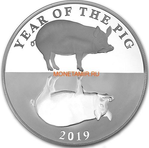 Токелау 5 долларов 2019 Год Свиньи (Tokelau 5$ 2019 Year of the Pig 1oz Silver Proof).Арт.63