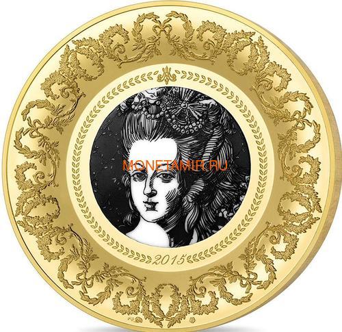 Франция 200 евро 2015 Мария-Антуанетта Севрская Фарфоровая Мануфактура серия Коллекция Французского Совершенства (France 200E 2015 French Excellence Plate Marie-Antoine Manufacture de Sèvres Gold Proof 1oz).Арт.002966751045/63 (фото)