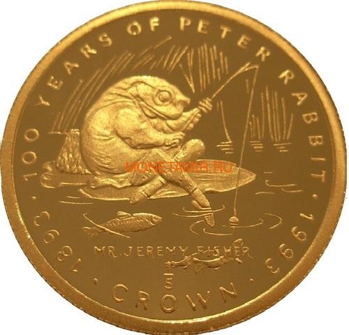 Гибралтар 1/5 кроны 1993 Мистер Джереми Фишер Лягушка Рыбалка 100 лет Кролику Питеру Раббиту (Gibraltar 1/5 crown 1993 Jeremy Fisher 100 Years of Peter Rabbit 1/5oz Gold).Арт.001905056311/64 (фото)