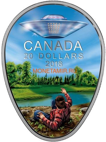 Канада 20 долларов 2018 Инцидент в Фалкон-Лейк НЛО Космос (Canada 20C$ 2018 The Falcon Lake Incident UFO Glow-in-the-Dark Coin).Арт.000569156255/64 (фото)