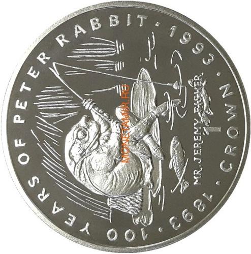 Гибралтар 1 крона 1993 Мистер Джереми Фишер Лягушка Рыбалка 100 лет Кролику Питеру Раббиту (Gibraltar 1Cr 1993 Mr.Jeremy Fisher 100 Years of Peter Rabbit 1oz Silver Proof).Арт.000253756243/64 (фото)