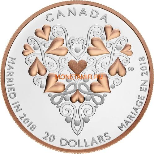 Канада 20 долларов 2018 Свадьба Сердце (Canada 20C$ 2018 Best Wishes On Your Wedding Day).Арт.000538356330/68 (фото)