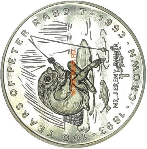 Гибралтар 1 крона 1993 Мистер Джереми Фишер Лягушка Рыбалка 100 лет Кролику Питеру Раббиту (Gibraltar 1Cr 1993 Mr.Jeremy Fisher 100 Years of Peter Rabbit C-N).Арт.000041938771/68 (фото)