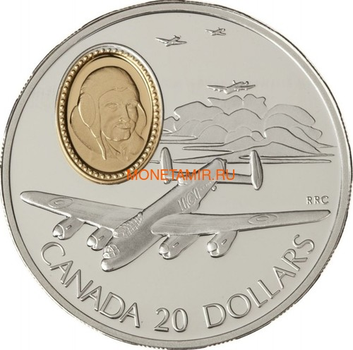 Канада 20 долларов 1990 Авро Ланкастер Летчик Джон Эмилиус Фокуир Авиация (Canada 20$ 1990 Aviation Series Avro Lancaster John Emilius Fauquier 1oz Silver Coin).Арт.68 (фото)