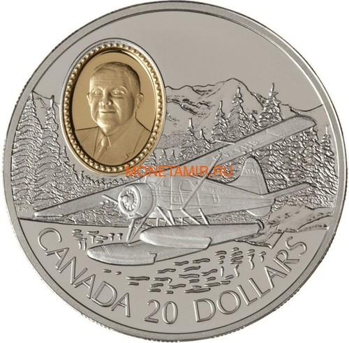 Канада 20 долларов 1991 Бобр Де Хэвилленд Филипп Гарретт Авиация (Canada 20$ 1991 Aviation Series De Havilland Beaver Phillip C.Garratt 1oz Silver Coin).Арт.68 (фото)