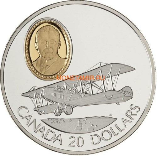 Канада 20 долларов 1992 Кертисс JN-4 Канук Сэр Франк В.Байли Авиация (Canada 20$ 1992 Aviation Series Curtiss JN-4 Canuck Sir Frank Wilton Baillie 1oz Silver Coin).Арт.68 (фото)