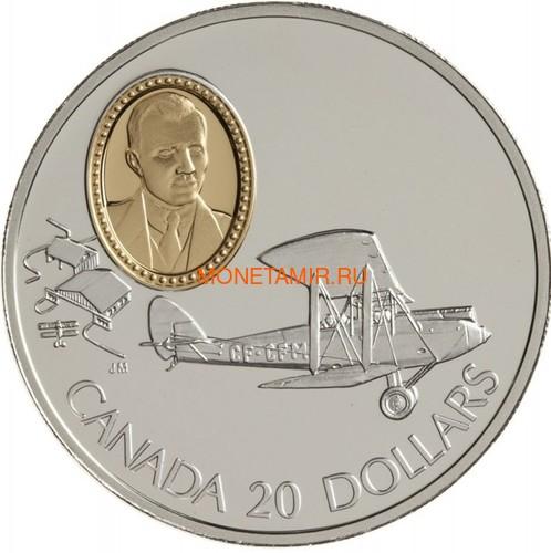 Канада 20 долларов 1992 Де Хэвиленд Джипси Мот Муртон А.Сеймура Авиация (Canada 20$ 1992 Aviation Series De Havilland Gipsy Moth Murton A.Seymour 1oz Silver Coin).Арт.68 (фото)