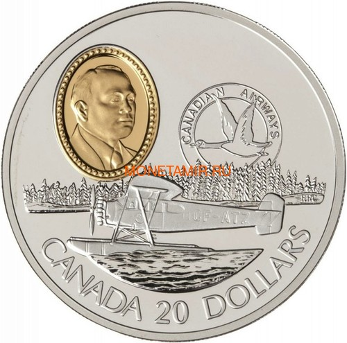 Канада 20 долларов 1993 Фэйрчайлд 71c Джеймс А.Ричардсон Авиация (Canada 20$ 1993 Aviation Series Fairchild 71c James A.Richardson 1oz Silver Coin).Арт.68 (фото)
