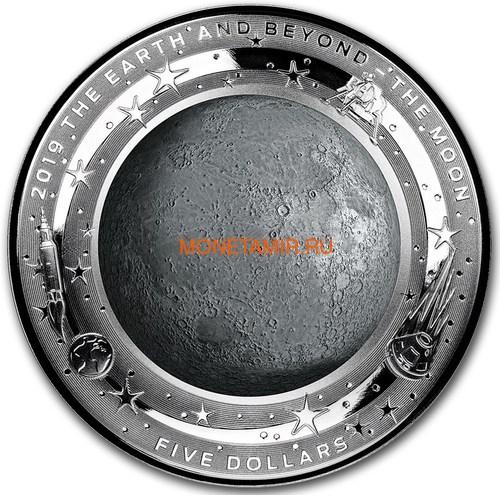 Австралия 5 долларов 2019 Луна серия За Пределами Земли Выпуклая (Australia 2019 $5 The Earth and Beyond The Moon Silv Proof Domed Coin).Арт.69 (фото)