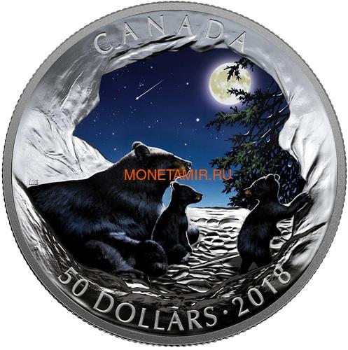 Канада 50 долларов 2018 Медведи Луна Природные Явления (Canada 50C$ 2018 Nature's Light Show Moonlit Tranquility Night Glow-in-the-Dark Coin) Выпуклая форма.Арт.69 (фото)