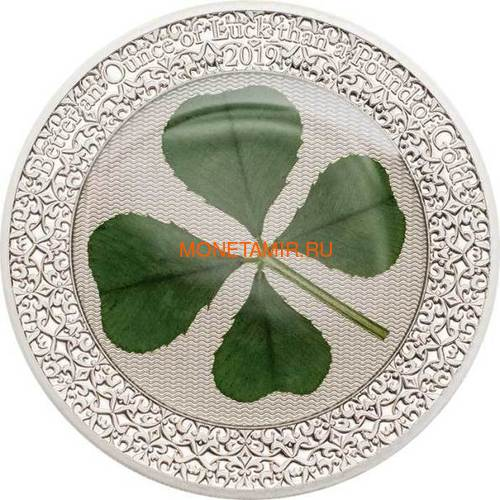 Палау 5 долларов 2019 Клевер Унция удачи (Palau 5$ 2019 Ounce of Luck 4-leaf Clover).Арт.69