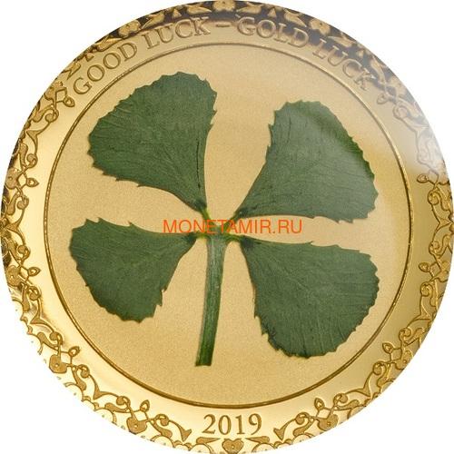 Палау 1 доллар 2019 Клевер На Удачу (Palau 1$ 2019 Good Luck 4-leaf Clover).Арт.69 (фото)