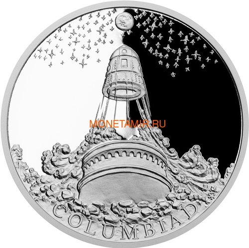 Ниуэ 1 доллар 2018 Колумбиада Мир Жюль Верна (Niue 1$ 2018 Jules Verne Columbiad Mechanical Elephan Albatross Ship Nautilus Submarine Octopus Space).Арт.60