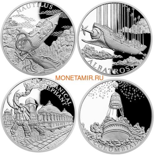 Ниуэ 2018 Набор 4 Монеты Мир Жюль Верна Наутилус Альбатрос Механический Слон Колумбиада (2018 Niue Jules Verne Nautilus Columbiad Mechanical Elephan Albatross 4 coin set).Арт.60 (фото)