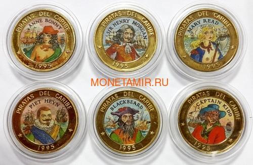 Куба 6х50 песо 1995 Пираты Карибского Моря Набор Пробников Пьедфорт (Cuba 6х50 pesos 1995 Pirates of the Caribbean Coins Set Pattern Piedfort).Арт.000557437734/69 (фото)