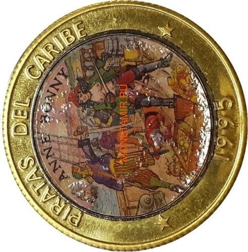 Куба 10 песо 1995 Энн Бонни Пираты Карибского Моря Пробник (Cuba 10 pesos 1995 Pirates of the Caribbean Pattern).Арт.000130137717/69 (фото)