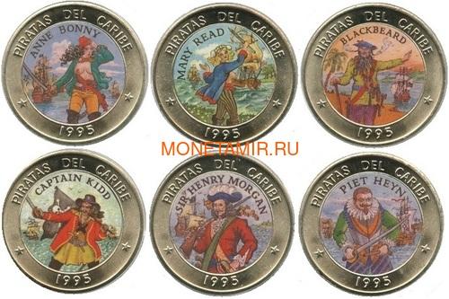 Куба 6х1 песо 1995 Пираты Карибского Моря Набор Монет (Cuba 6х1 pesos 1995 Pirates of the Caribbean Coins Set).Арт.69 (фото)