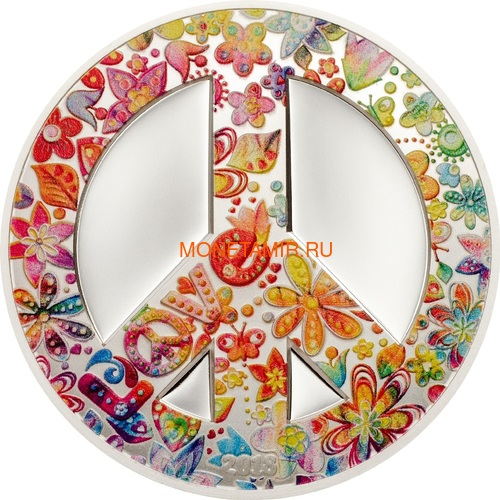 Палау 5 долларов 2018 Лето Любви (Palau 5$ 2018 Summer of Love 1Oz Silver Coin).Арт.67
