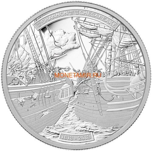 Канада 50 долларов 2013 Корабли Шаннон и Чесапик (Canada 50$ 2013 Ship HMS Shannon & USS Chesapeake Silver Coin 5oz).Арт.003443044804/69 (фото)