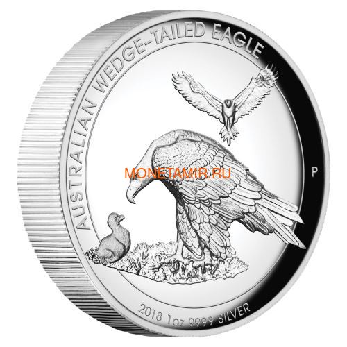 Австралия 1 доллар 2018 Орел Австралийский Клин-Белохвост (Australia 1$ 2018 Wedge-Tailed Eagle High Relief 1oz Coin Silver).Арт.000416056446/69 (фото)