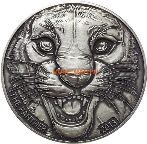 Берег Слоновой Кости Кот-д'Ивуар 1000 франков 2013 Черная Пантера (Cote D`Ivoire Ivory Coast 1000FCFA 2013 Black Panther 1oz Silver Coin Antique).Арт.000297247369 (фото)