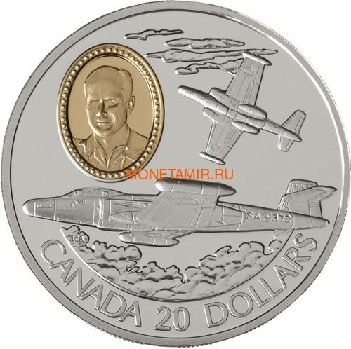 Канада 20 долларов 1996 Авро Канада CF-100 Канук Януш Жураковский Авиация (Canada 20$ 1996 Avro Canada CF-100 Canuck Janusz Żurakowski Aviation Series 1oz Silver Coin).Арт.68 (фото)