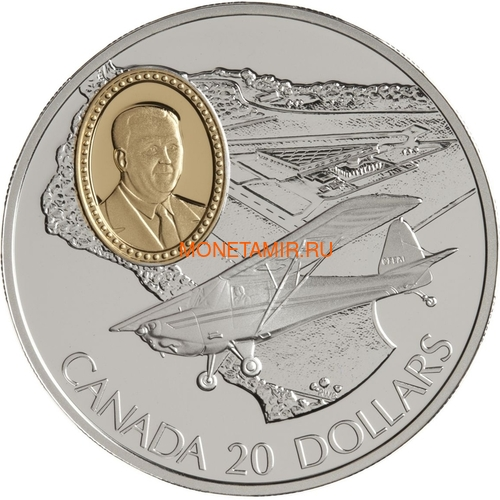 Канада 20 долларов 1995 Флит 80 Канук Омер (Боб) Нури Авиация (Canada 20$ 1995 Fleet 80 Canuck J. Omer (Bob) Noury Aviation Series 1oz Silver Coin).Арт.68 (фото)