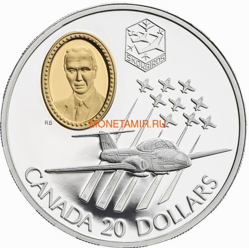 Канада 20 долларов 1997 Канадиар CT-114 Tutor Эдвард Хиггинс Авиация (Canada 20$ 1997 Canadair CT-114 Tutor Edward Higgins Aviation Series 1oz Silver Coin).Арт.68 (фото)