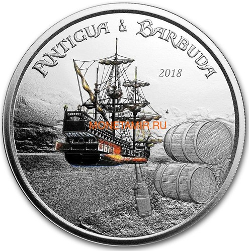 Антигуа и Барбуда 2 доллара 2018 Корабль Рамраннер (Antigua&Barbuda 2$ 2018 Ship Rum Runner 1Oz Silver Coin).Арт.000559956326 (фото)