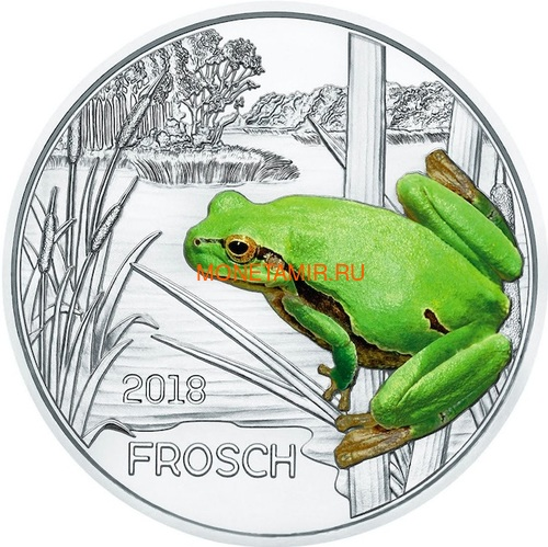 Австрия 3 евро 2018 Лягушка (Colourful Creatures The Frog Austria 3 euro 2018).Арт.68 (фото)