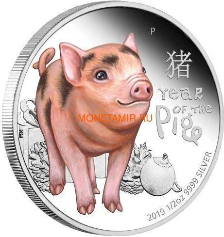 Тувалу 50 центов 2019 Год Свиньи Детеныш (Tuvalu 0,5$ 2019 Year of the Pig Baby).Арт.67 (фото)