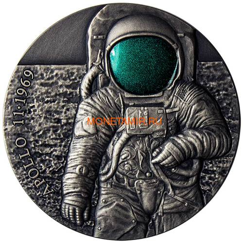 Камерун 3000 франков 2019 Аполлон 11 Луна (Cameroon 3000 Francs 2019 Apollo 11 Moon Landing 3 Oz Silver Coin).Арт.67 (фото)