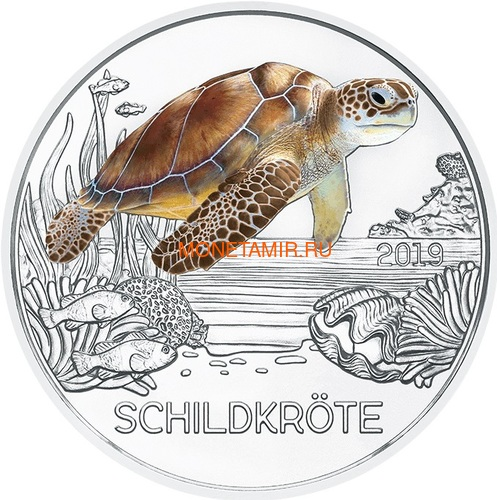 Австрия 3 евро 2019 Черепаха (Colourful Creatures The Turtle Austria 3 euro 2019).Арт.67 (фото)